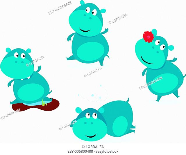 Cute happy blue hippopotamus in four poses