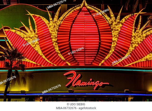 The USA, Nevada, Clark County, Las Vegas, Las Vegas Boulevard, The Strip, flamingo, casino entrance