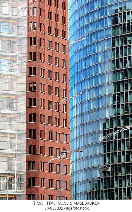 Three high-rise buildings at Potsdamer Platz Square, architectural detail, from ltr, PwC, PricewaterhouseCoopers, Kollhoff-Tower, BahnTower, Berlin, Germany