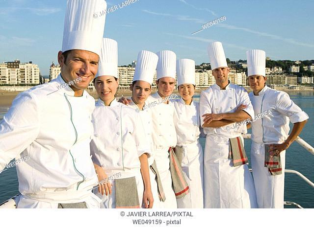 Chefs at Bahia de La Concha. Luis Irizar cooking school. Donostia, Gipuzkoa, Basque Country, Spain