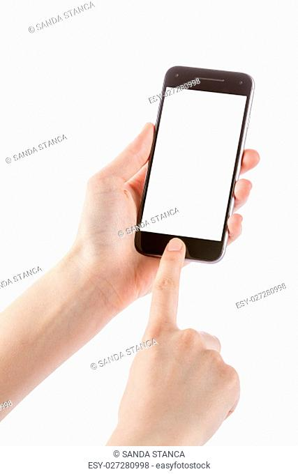 Woman holding smartphone in her hands. Finger touching home button
