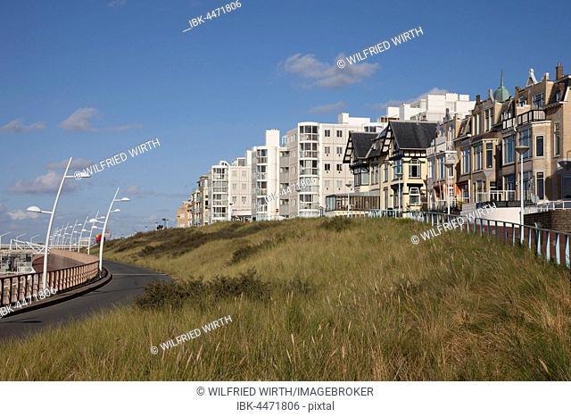Old and modern architecture on the beach promenade, Scheveningen, The Hague, Holland, The Netherlands
