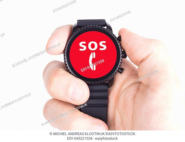 Black smartwatch isolated on a white background, SOS