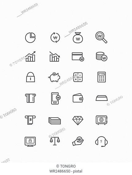 Set of line icons related to finance and economy