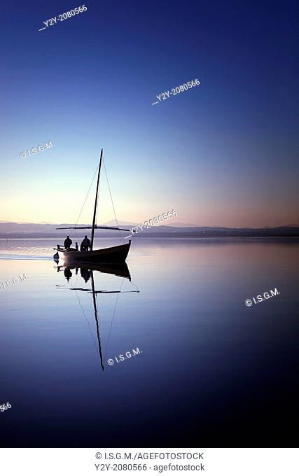 Boat in Albufera Lake, Valencia, Spain