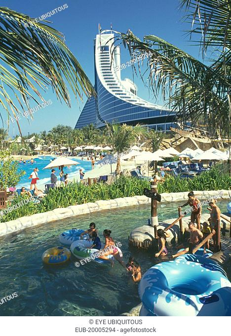View Over Wild Wadi Water Park Pools People In The With Inflatable Rings
