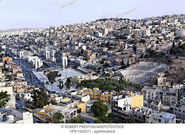 The Roman Theatre in the middle of the city of Amman, Jordan