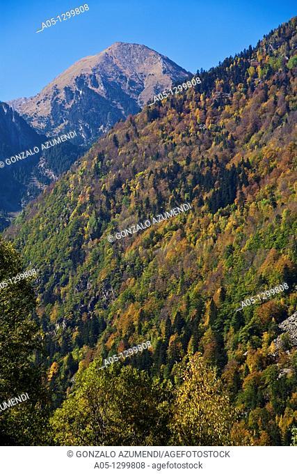 Landscape around Caldes de Boi Spa Boi - Taull Valley  Alta Ribagorça Region Peripheric area. Aigüestortes i Estany de Sant Maurici National Park