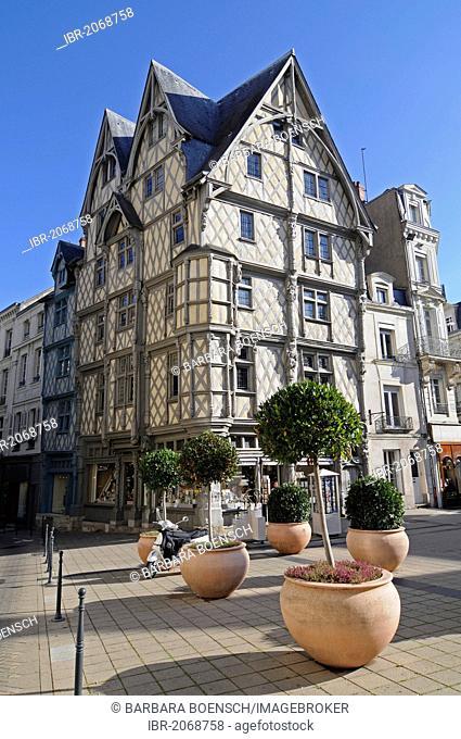 Maison d'Adam, House of Adam, the oldest building in the city, Place Sainte Croix square, Angers, department of Maine-et-Loire, Pays de la Loire, France, Europe