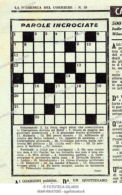 ENIGMISTICA schema di parole incrociate, dalla pagina dei passatempi della Domenica del Corriere, 1951,,Copyright © Fototeca Gilardi