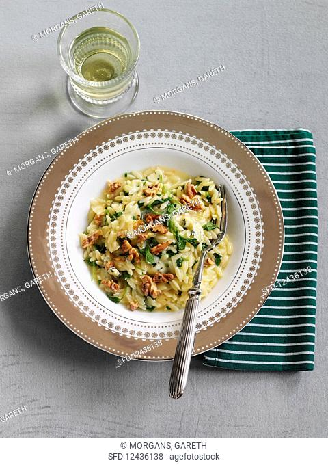 Orzo with watercress and nuts