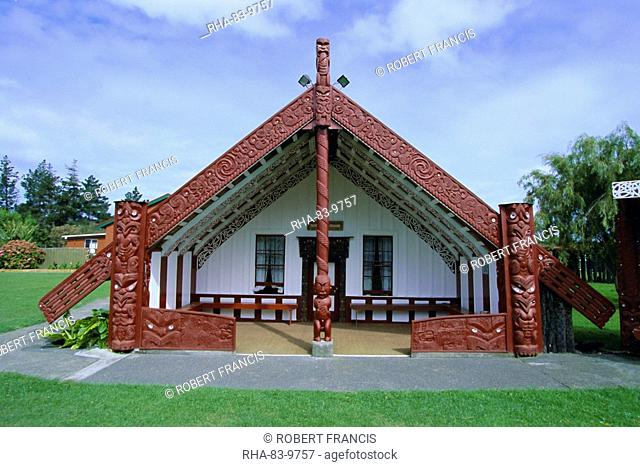 Maori marae, or meeting house, at Putiki, just over the river from the city of Wanganui on the south west coast, Wellington, North Island, New Zealand, Pacific