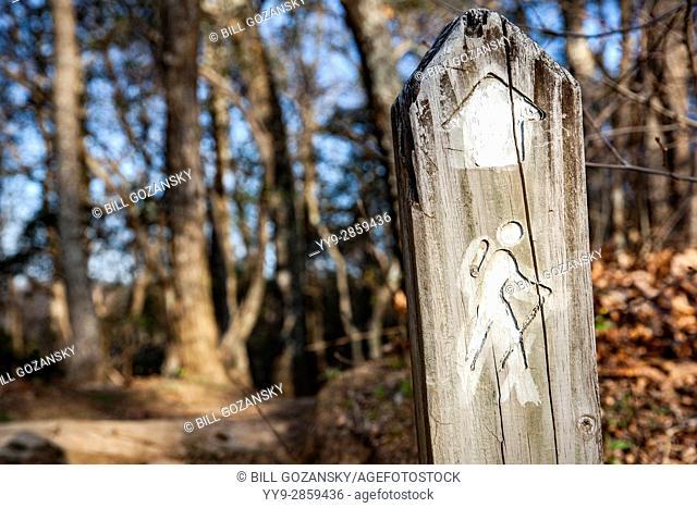 Trail Marker near Chestnut Cove Overlook, Blue Ridge Parkway, near Asheville, North Carolina, USA