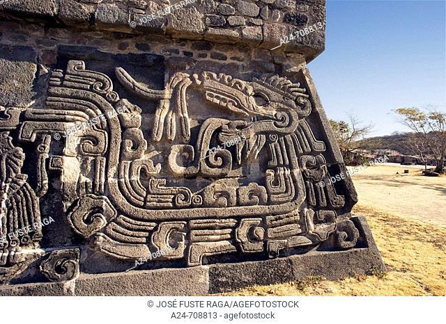 Near Cuernavaca City. Ceremonial Center of Xochicalco. Quetzalcoatl Piramid. Mexico
