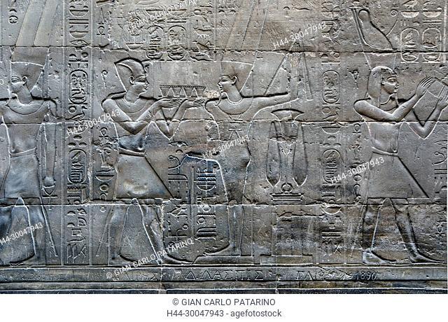 Luxor, Egypt. Temple of Luxor: the pharaoh incenses the god Min