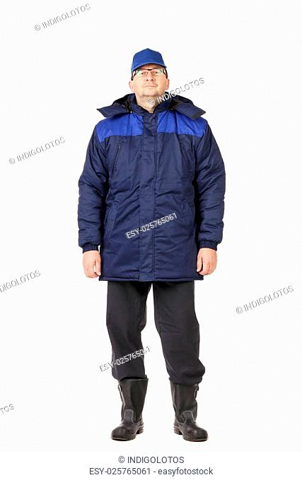 Man in winter work wear. Isolated on white background