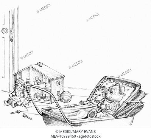 'Freddie the Teddy' –page 24 – Teddy in the pram with the sleeping doll, with doll and doll's house in the background