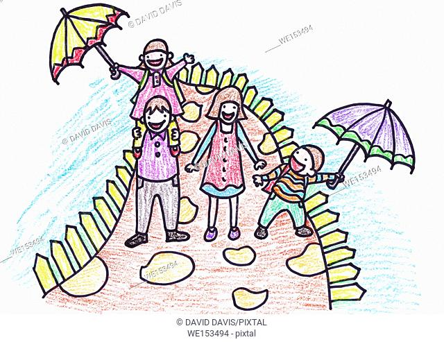 Eight year old Childs crayon drawing of their family