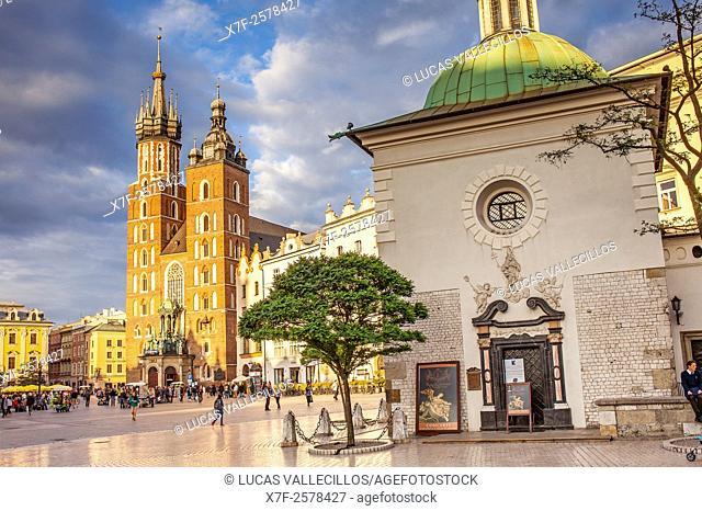 St. Mary's Basilica and St Adalbert church, at main Market Square Rynek Glowny, Krakow, Poland