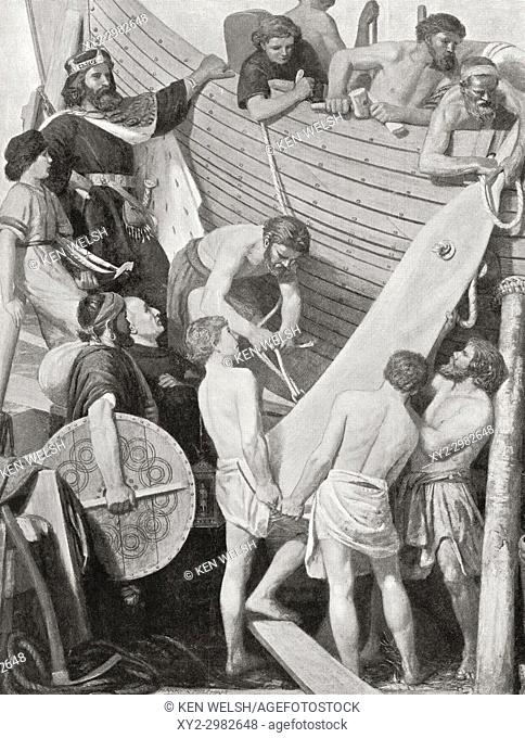 The rebuilding of King Alfred's fleet, c. 882. Alfred the Great, 849 - 899. King of Wessex. From Hutchinson's History of the Nations, published 1915