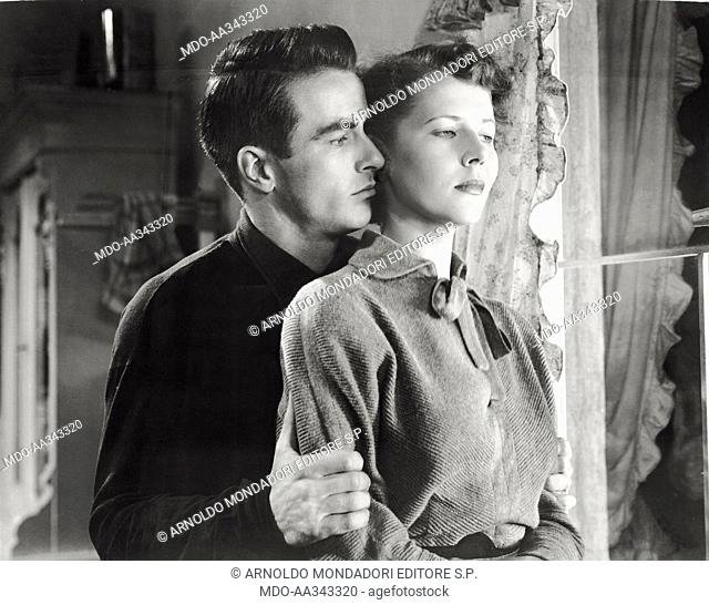 Montgomery Clift and Cornell Borchers in 'The Big Lift'. American actor Montgomery Clift hugging hard German actress Cornell Borchers in 'The Big Lift'