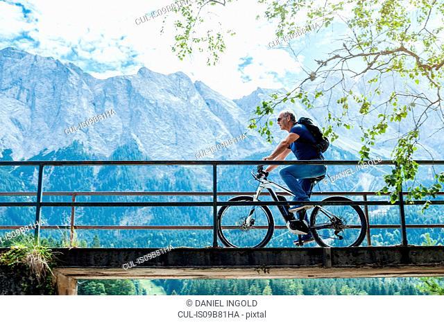 Senior man riding bicycle across footbridge, Elbsee, Bavaria, Germany
