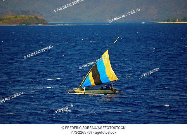 A balinese fishing boat in the east coast of Bali, Indonesia, South East Asia