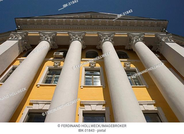 Ukraine Kiev district Podil Kontraktova Place oldest place of town view to the historical building of Mohyla Akademie with its columns in front of the building...