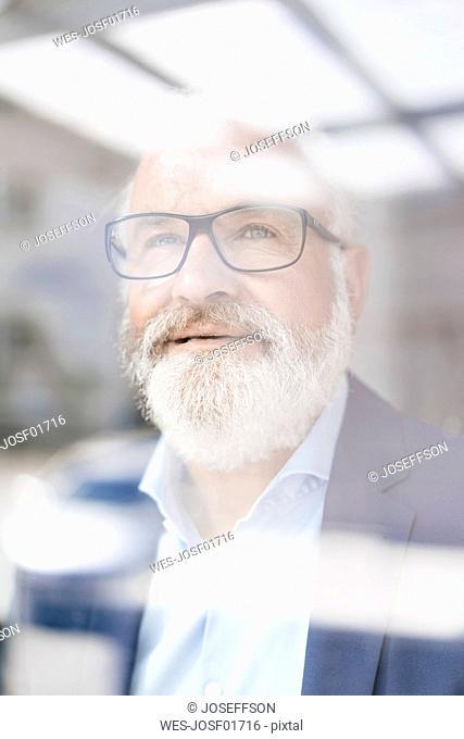 Portrait of mature man behind windowpane