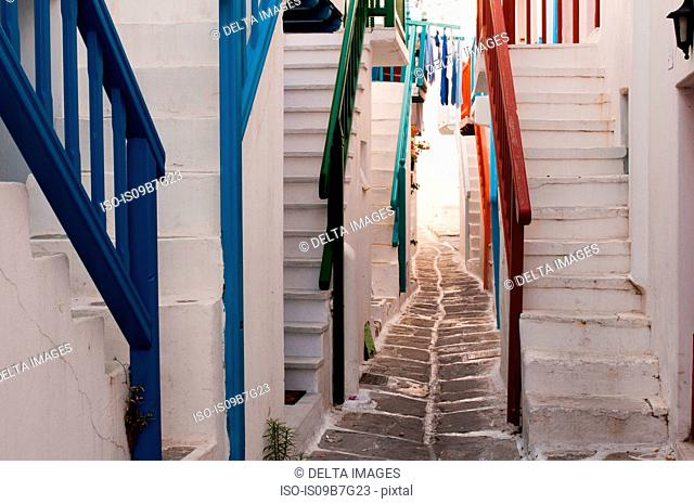 Steps to houses, Mykonos Town, Cyclades, Greece