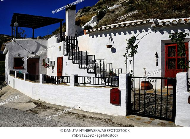 Traditional cavehouses in the city of Galera near Baza, unspoilt cave country in mountainous region of northern Andalusia