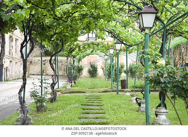 Gardens of The Monastery of San Salvador (Holy Savior) Benedictine monastery in Oña, province of Burgos Spain