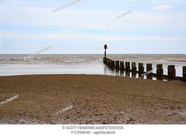 groyne on beach, Cleethorpes, Lincolnshire, England