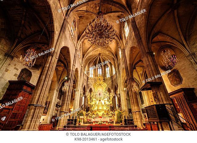 altar, gothic church of Santa Eulalia, XIV-XIX, Plaza Santa Eulalia, Mallorca, Balearic Islands, Spain