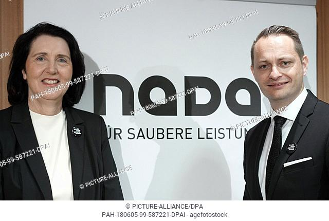 05 June 2018, Germany, Berlin: The chairwoman and the chairman of the German National Anti-Doping Agency (NADA), Andrea Gotzmann (L) and Lars Mortsiefer