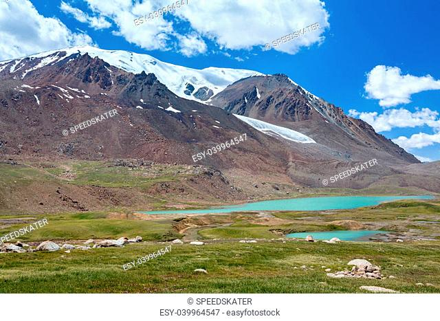 Lake near Barskoon pass in Tien Shan mountains, Kirgizstan