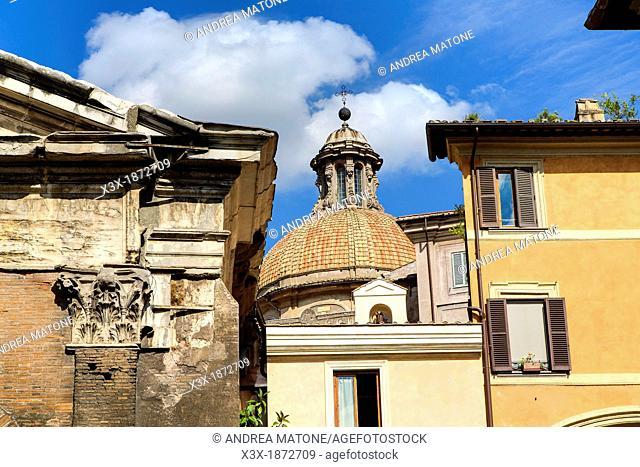 Cityscape view from Portico Ottavia Rome Italy