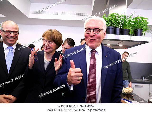 17 April 2018, Berlin, Germany: German President Frank-Walter Steinmeier (R), his wife Elke Buedenbender, and Ties Rabe (SPD, L)