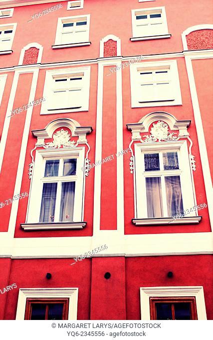 Old tenement flats building facade, Krakow, Poland