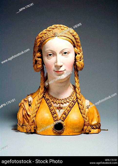 Reliquary Bust of a Female Saint. Date: ca. 1520-30; Geography: Made in possibly Brussels, Belgium; Culture: South Netherlandish; Medium: Oak, paint