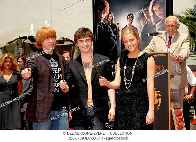 Rupert Grint, Daniel Radcliffe, Emma Watson at the induction ceremony for Harry Potter Foot-Print and Wand-Print Ceremony, Grauman's Chinese Theatre