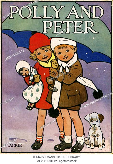 Front cover illustration by Harold Earnshaw showing two children sheltering from the snow under an umbrella. A rather confused puppy dog sits nearby