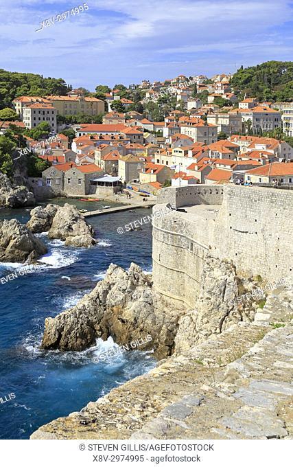 Fort Bokar on Dubrovnik City walls, Croatia, UNESCO world heritage site, Dalmatia, Dalmatian Coast, Europe