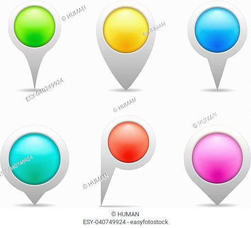 Colored map marekrs, six shapes, vector eps10 illustration