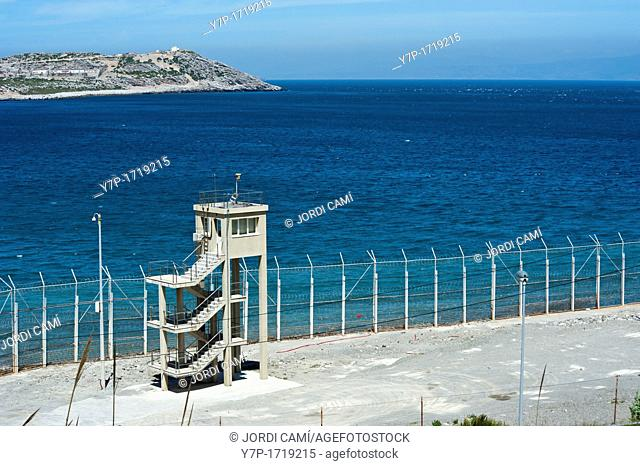 Perimeter fence in Benzu village that separates the Spanish enclave of Ceuta and Morocco May 26, 2010 in Ceuta, North Africa Spain The fence which marks the...
