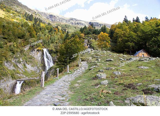 Sauth deth Pish, famous waterfall in valle de Aran, Catalonia, Lleida, Spain