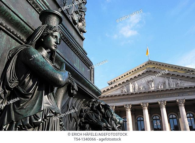 Ancient Greek women's figure at the Elector Max monument in front of the Bavarian State Opera in Munich