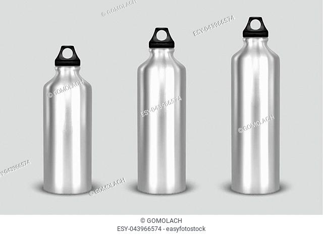 Vector realistic 3d different size - small, medium, large - silver empty glossy metal water bottle with black bung icon set closeup isolated on white background