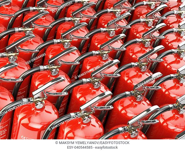 Fire extinguishers. Total potection and security background. 3d illustration