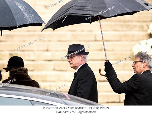 King Carl Gustaf of Sweden attends the funeral of Belgian Queen Fabiola at the Cathedral of St. Michael and St. Gudula in Brussels, Belgium, 12 December 2014